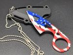 "4.25"" Flag Fixed Blade Wartech Hunting Neck Knife"