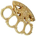 Gold Flaming Skull Belt Buckle Paperweight