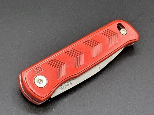 Small Red SR Hidden Scale Release Automatic Knife